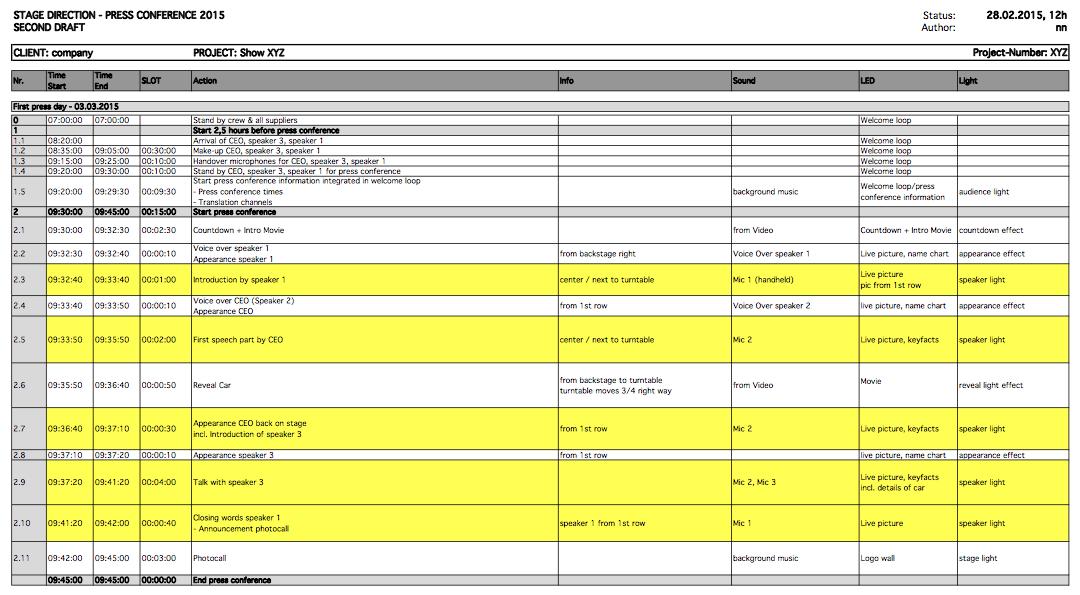 Regieplan Pressekonferenz Vorlage Regieplan erstellen Regieplan schreiben