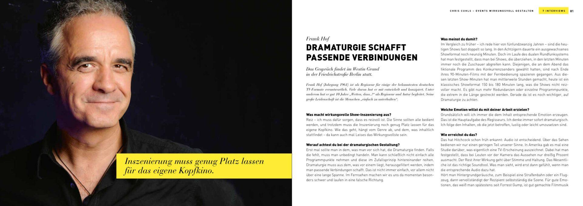 TV Regisseur Frank Hof - Events wirkungsvoll inszenieren